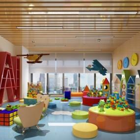 现代幼儿园教室3D模型【ID:528454827】