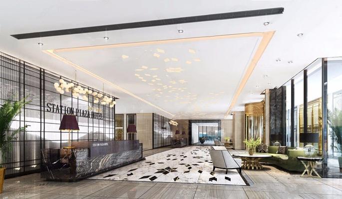 現代酒店大廳3D模型【ID:428266205】
