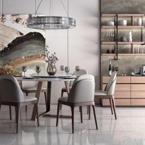 现代餐桌椅装饰柜组合3D模型【ID:327929430】