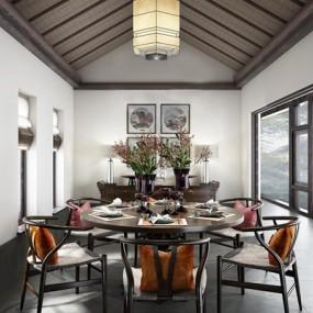 中式餐厅桌椅组合3D模型【ID:327898417】