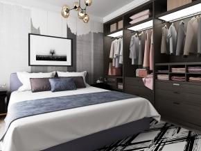 現代布藝雙人床吊燈衣柜服飾3D模型【ID:727809012】