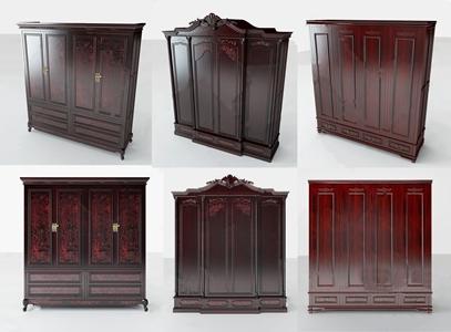 中式红木衣柜组合3D模型【ID:132398400】