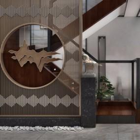 新中式玄关楼梯过道3D模型【ID:928557358】