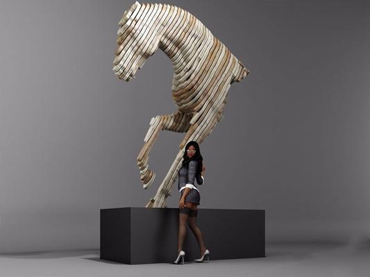 馬雕塑3D模型【ID:327929859】