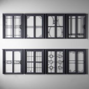 新中式厨房门组合3D模型【ID:720811554】