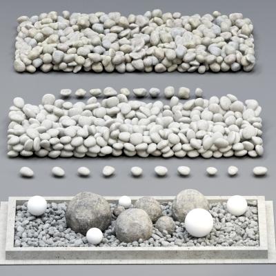 現代鵝卵石組合3D模型【ID:127764836】