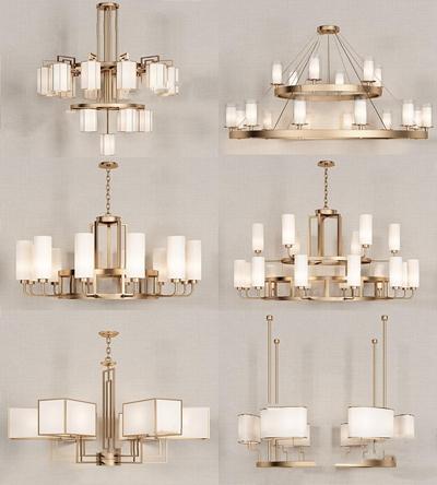 新中式吊燈組合3D模型【ID:528035815】