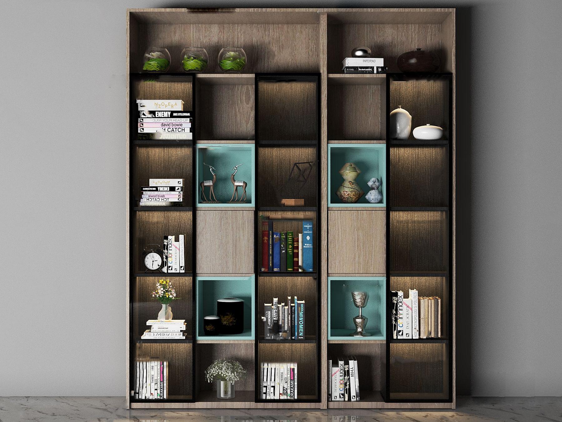 现代实木书柜储物柜3D模型【ID:143276518】