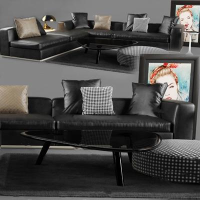 现代沙发茶几组合3D模型【ID:626233050】