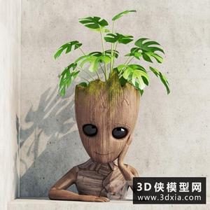 室內木質人形盆栽國外3D模型【ID:229323714】