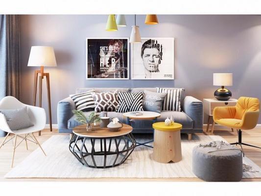 北歐沙發椅子吊燈組合3D模型【ID:327913342】