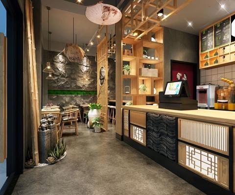 现代新中式奶茶店3D模型【ID:328029836】