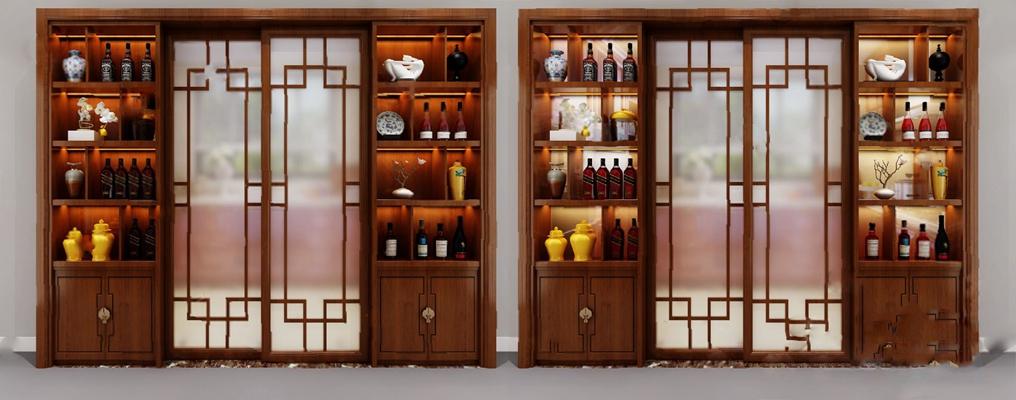 传统中式酒柜3D模型【ID:920011065】