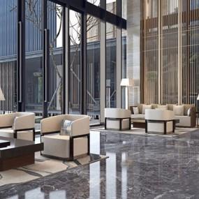 极简宋韵-现代新中式酒店洽谈区3D模型【ID:427977284】