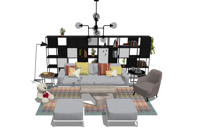 現代客廳沙發茶幾置物架吊燈組合SU模型【ID:436370101】