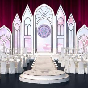 现代酒店婚礼舞台宴会3d模型【ID:743348548】