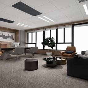 现代总经理办公室3d模型【ID:950469047】