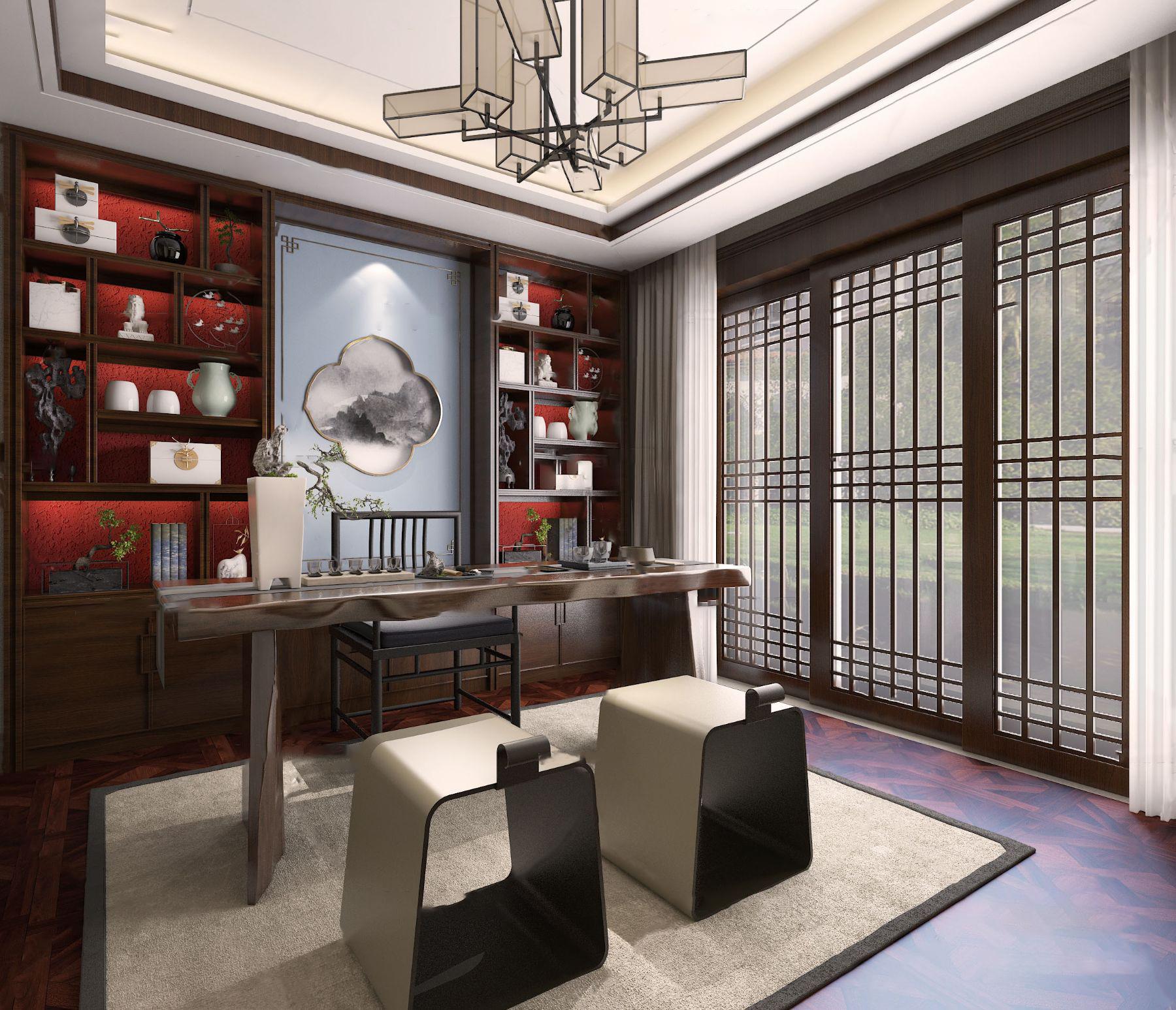 新中式书房3D模型【ID:543093413】