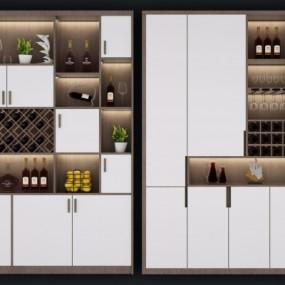 北欧实木酒柜组合3D模型【ID:927837094】