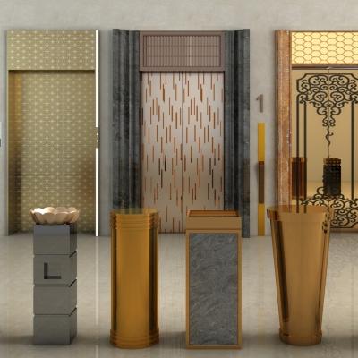 现代电梯门垃圾桶组合3D模型【ID:227782705】