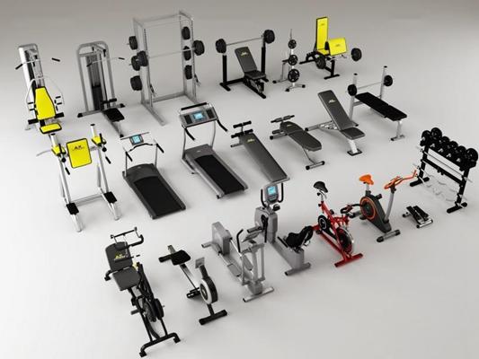 健身器材组合3D模型【ID:928171586】