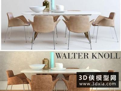 現代餐桌椅国外3D模型【ID:729443766】