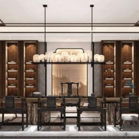 新中式茶室3D模型【ID:632388104】
