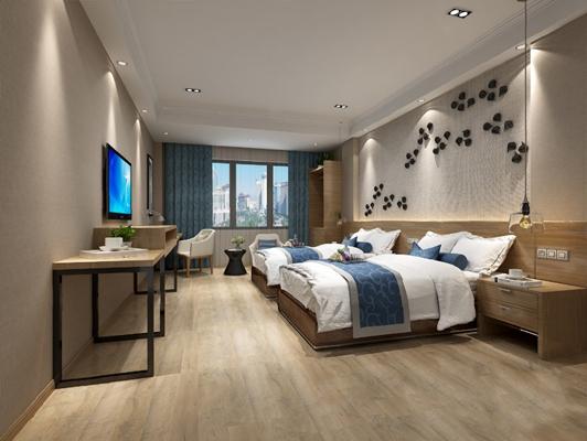 中式客房3D模型【ID:920606637】