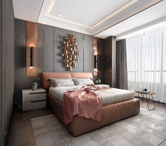 现代轻奢卧室3D模型【ID:541359251】