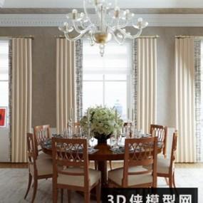 欧式餐桌椅组合国外3D模型【ID:729761750】