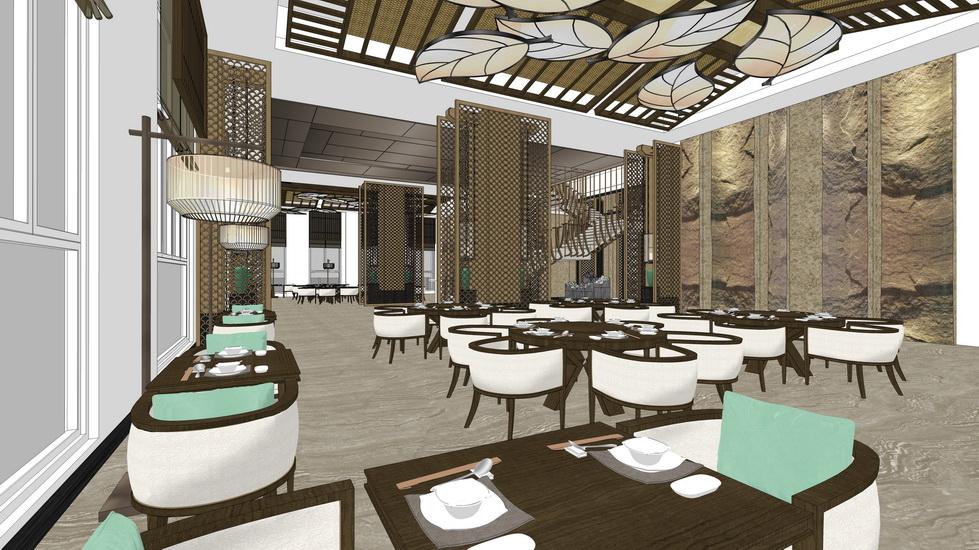 新中式餐厅室内设计SU模型【ID:936370040】