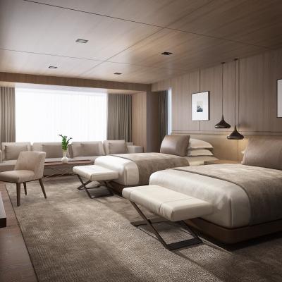 现代酒店客房双人房3D模型【ID:428444620】