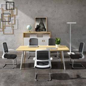 现代会议桌洽谈桌椅组合3D模型【ID:228425328】