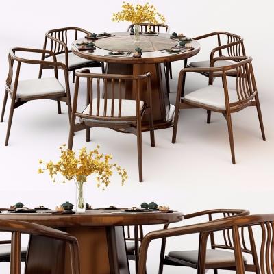 新中式餐桌椅3D模型【ID:327792444】