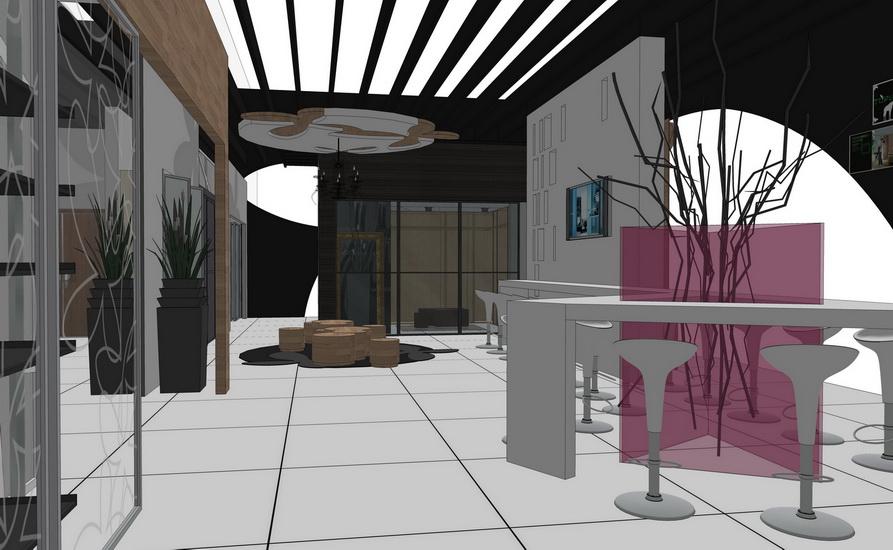 現代展廳室內設計SU模型【ID:936370886】