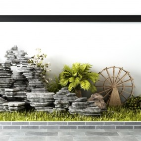 中式石头假山植物水车景观组合3D模型【ID:127774859】