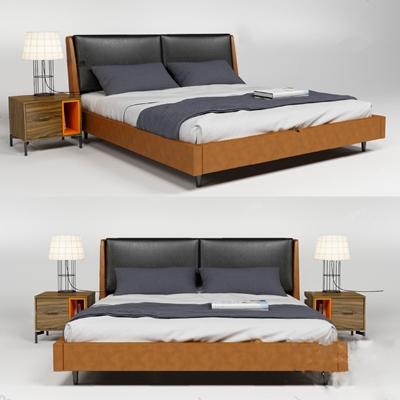 现代双人床3D模型【ID:720013026】