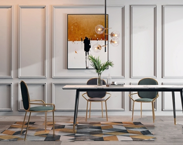 現代時尚餐桌椅3D模型【ID:331400425】