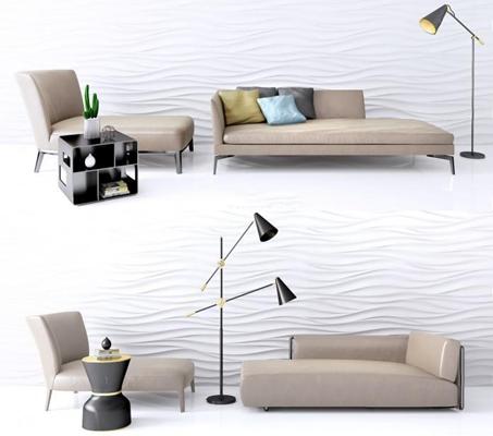 沙发床躺椅茶几组合3D模型【ID:227882612】