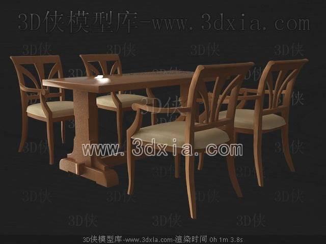 桌椅组合3D模型-版本2009-246【ID:40135】