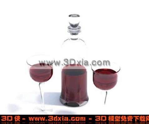 精美的红酒和酒杯组合3D模型