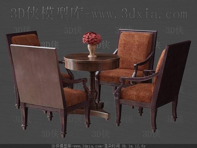 桌椅组合3D模型下载-版本3D2009-190【ID:40200】