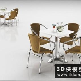 公共休闲桌椅组合国外3D模型【ID:729819754】
