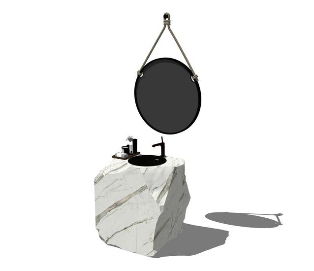 石头洗手台SU模型【ID:936371756】