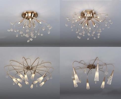 現代吸頂燈3D模型【ID:628053008】