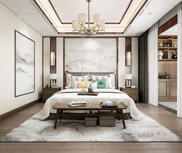 新中式卧室3D模型【ID:541358272】