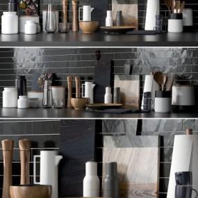 现代厨房厨具餐具摆件组合3D模型【ID:827815326】