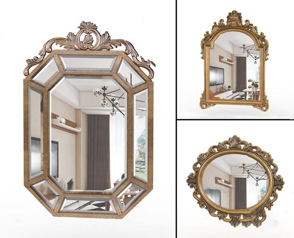 歐式裝飾鏡子3D模型【ID:246659526】