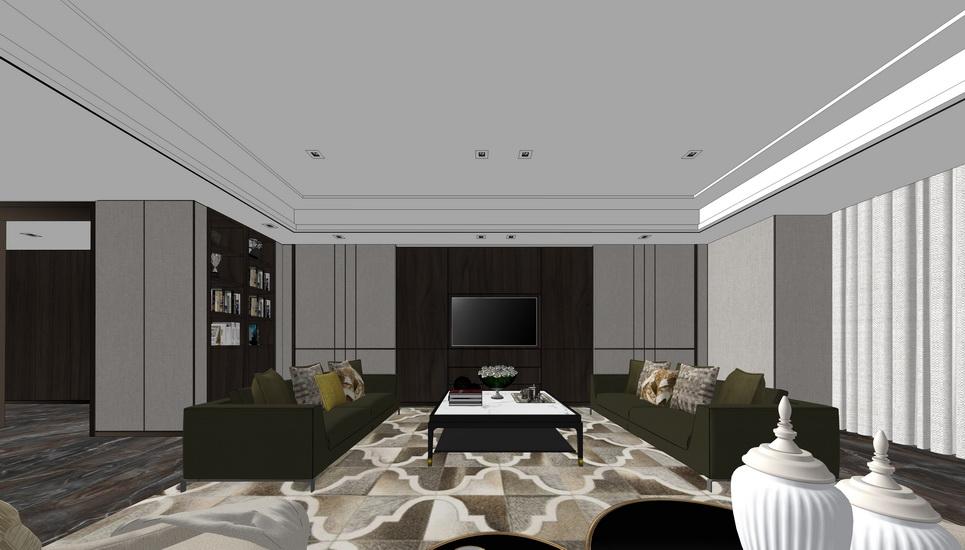 現代客廳室內設計SU模型【ID:936371877】
