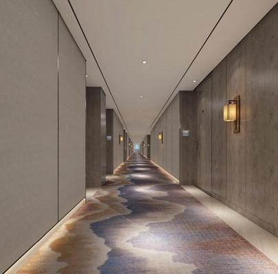 新中式酒店过道3D模型【ID:427955821】
